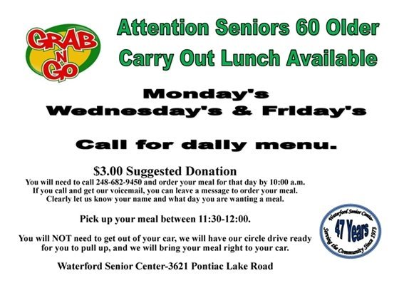 Grab N Go lunches at the Waterford Senior Center