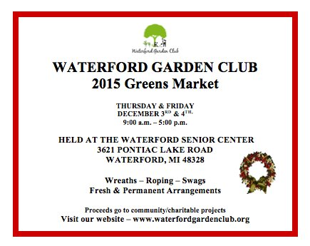 Garden Club Greens Market December 3 & 4, 2015