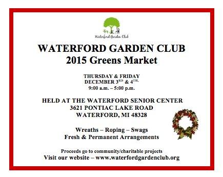 Garden Club Greens Market December 3 & 4