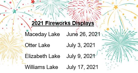 2021 Fireworks Displays Dates