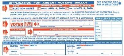 Application for Absent Voter's Ballot