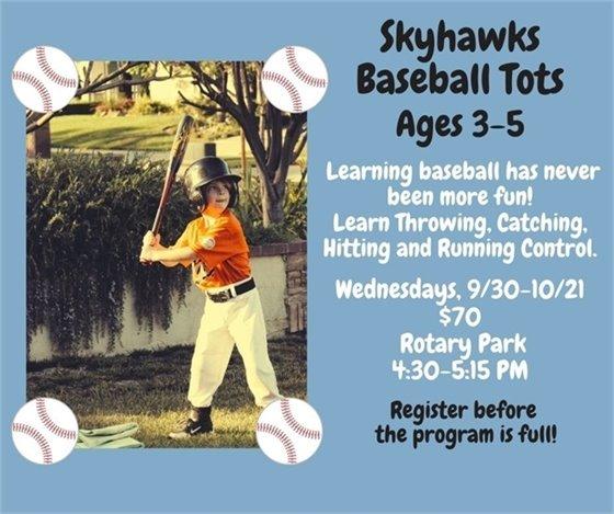 Skyhawks Baseball Tots