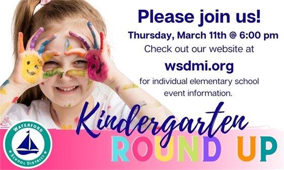 Kindergarten Round Up March 11th at 6pm