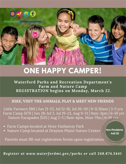 Farm and Nature Camp June, July, August 248-674-5441