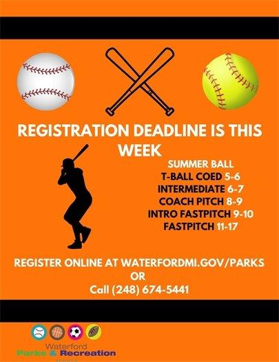 Summer Ball Deadline