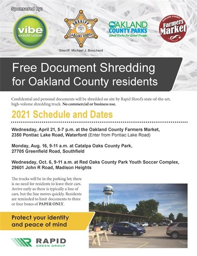 Free document Shredding for Oakland county residents dates and details