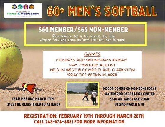 60+ Men's Softball