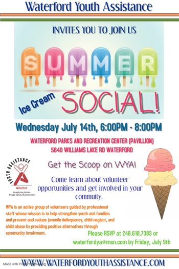 Waterford Youth Assistance Summer Ice Cream Social