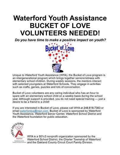 Waterford Youth Assistance Bucket of Love Volunteers Needed