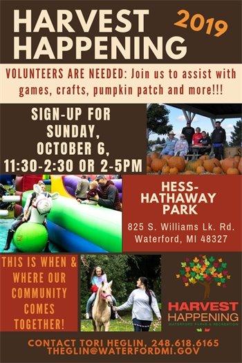 Volunteers Needed for Harvest Happening