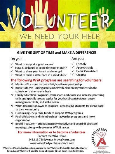 Waterford Youth Assistance Volunteers Needed 248-618-7383