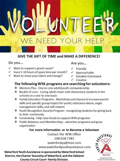 volunteer flyer Waterford Youth Assistance