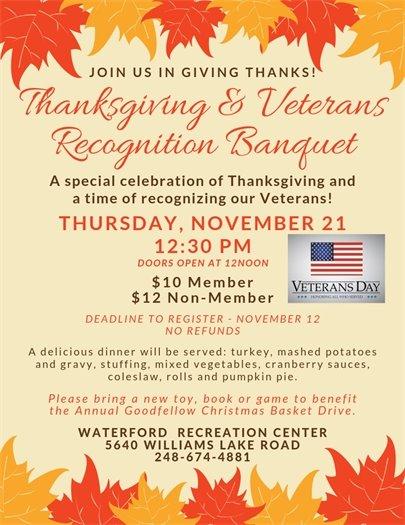 Thanksgiving & Veterans Banquet
