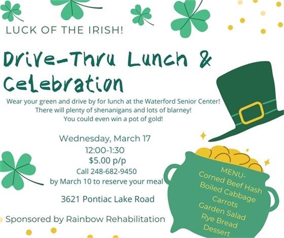 Drive-Thru Lunch & Celebration Waterford Senior Center 628-9450