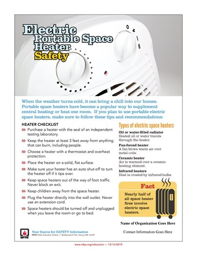 Electric Portable Space Heater Safety