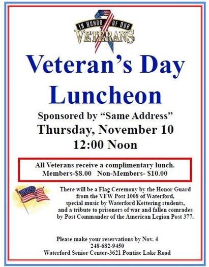 veteran's day luncheon senior center