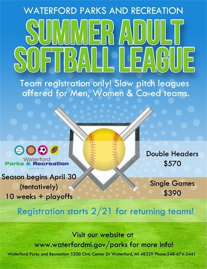 Summer Adult Softball Leage