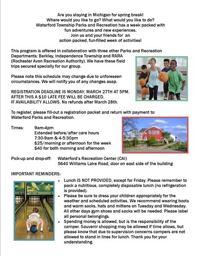 Spring Break Camp Information