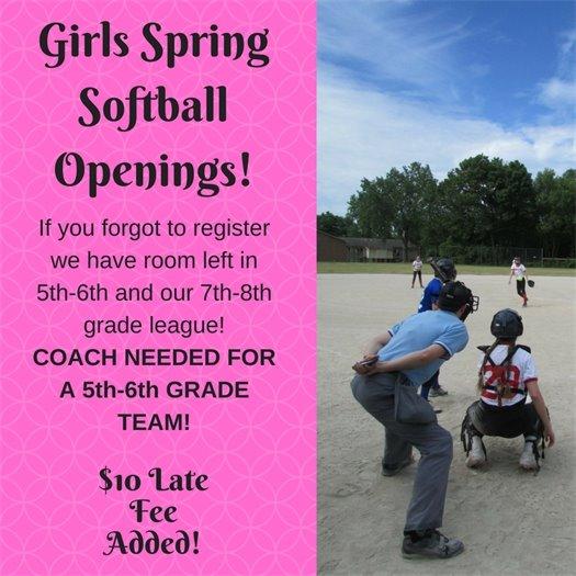 Girls Spring Softball Openings
