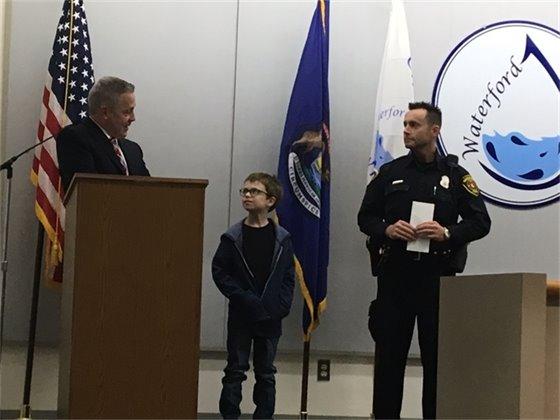 Kevin receives his award