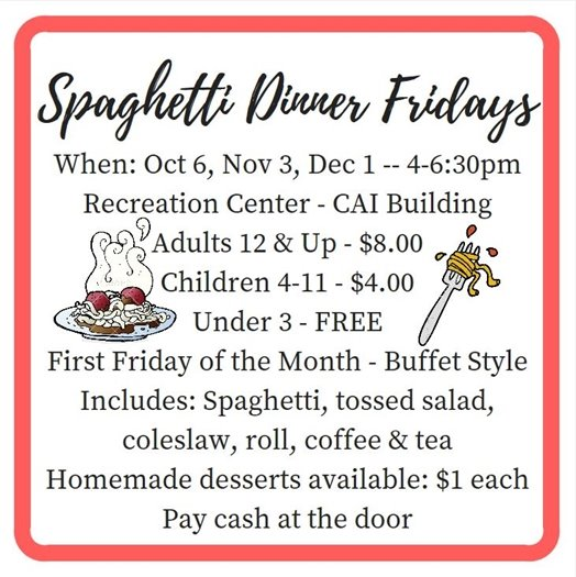 Spaghetti Dinner Fridays