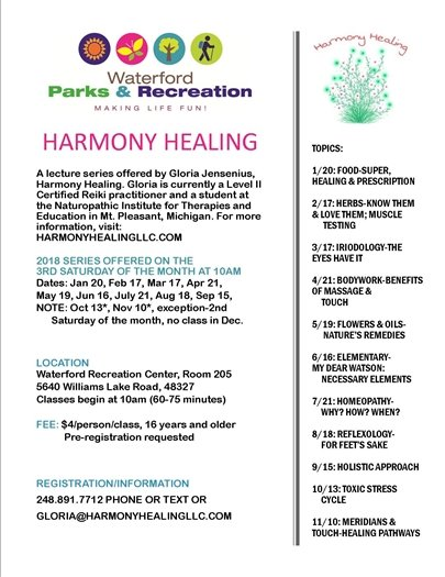 Harmony Healing Lecture Series