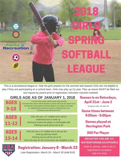 Girls Spring Softball League