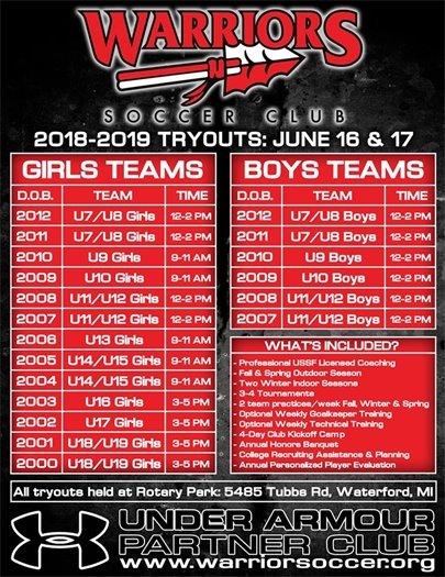 Warriors Soccer Tryouts June