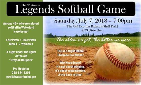 Legends Softball Game 2018