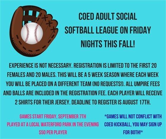 Coed Adult Social Softball