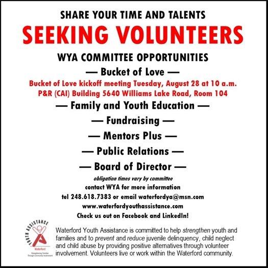 Seeking Volunteers WYA