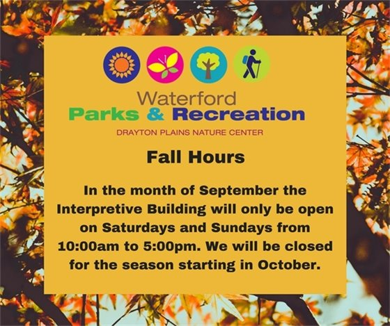 Nature Center Fall Hours