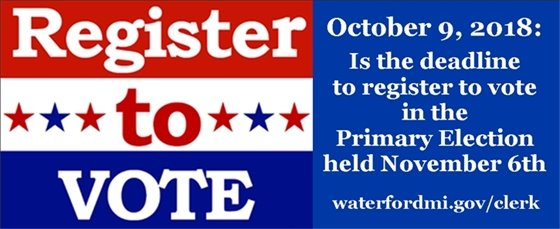 Register To Vote - Deadline Oct. 9th
