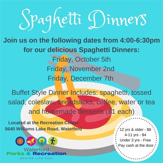 Spaghetti Dinners first Fridays