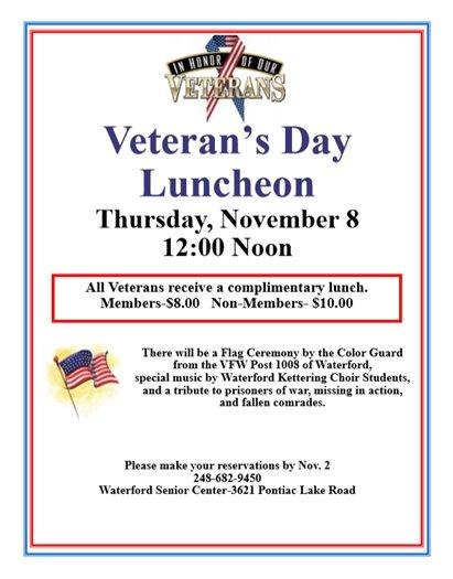 veterans' day lunch