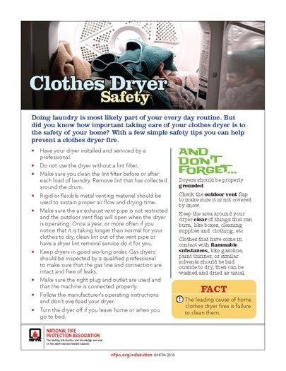 dryer safety fact sheet