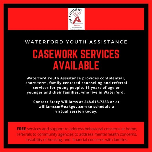 Waterford Youth Assistance Casework Services available