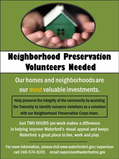 Neighborhood Preservation Volunteers Needed