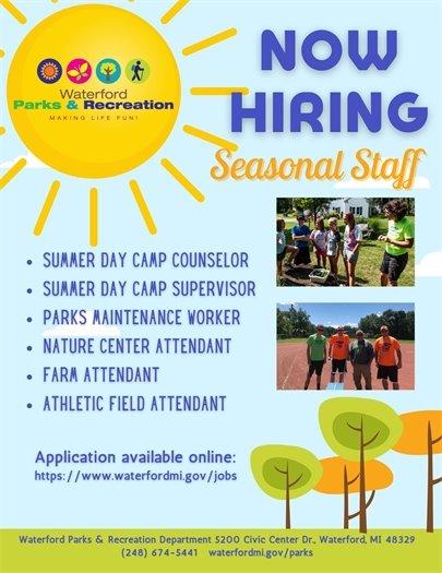 Parks & Recreation Hiring Seasonal Staff
