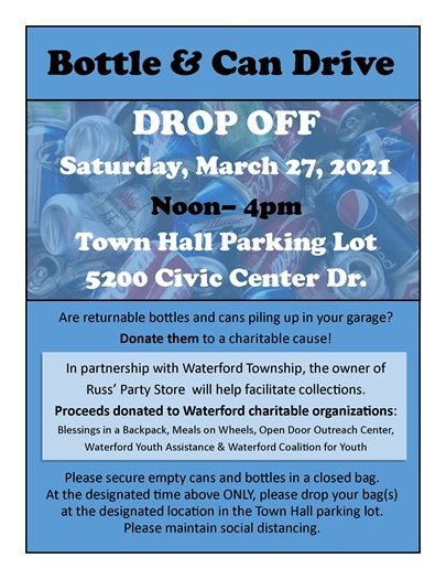 Bottle & Can Drive for Waterford Charities