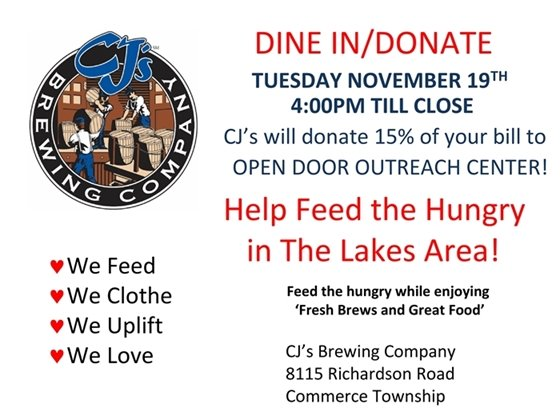 Dine to Donate - CJs for Open Door Outreach