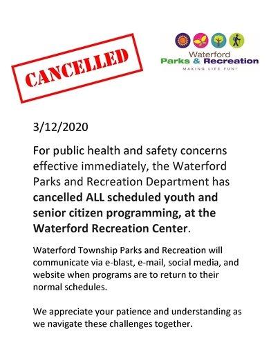 March 12, 2020 Cancellation Notice