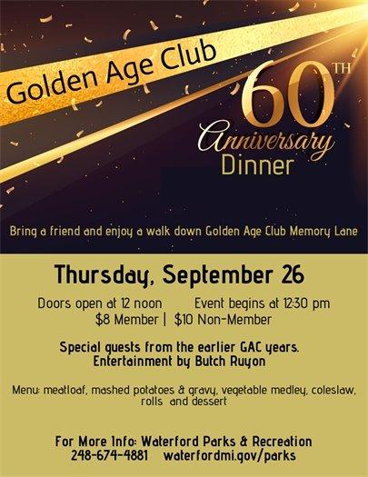 Golden Age Club Anniversary Dinner