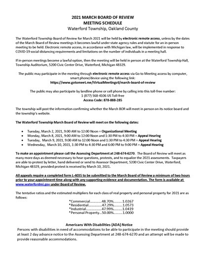 Assessing 2021 Board of Review Schedule Notice
