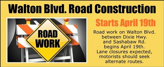 Walton Blvd Construction Begins April 19th