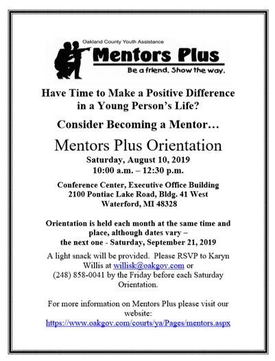 Mentors Plus Volunteer Orientation