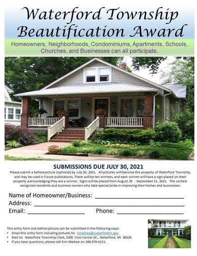 Waterford Beautification Award entry form www.waterfordmi.gov/clerk