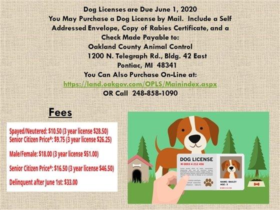 Dog Licenses due June 1