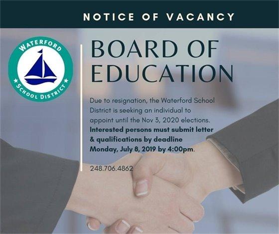 Notice of Vacancy - Board of Education