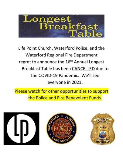 longest breakfast table cancelled